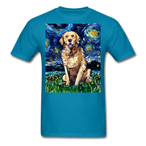 Golden Retriever Night Unisex Classic T-Shirt - turquoise