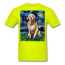 Load image into Gallery viewer, Golden Retriever Night Unisex Classic T-Shirt - safety green