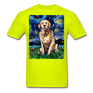 Golden Retriever Night Unisex Classic T-Shirt - safety green