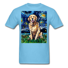 Load image into Gallery viewer, Golden Retriever Night Unisex Classic T-Shirt - aquatic blue