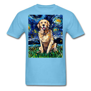 Golden Retriever Night Unisex Classic T-Shirt - aquatic blue