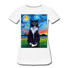 Load image into Gallery viewer, Tuxedo Cat Night Women's Premium T-Shirt - white
