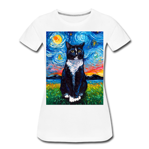 Tuxedo Cat Night Women's Premium T-Shirt - white