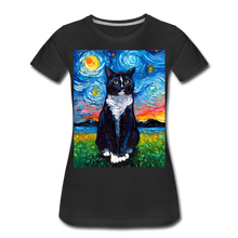 Load image into Gallery viewer, Tuxedo Cat Night Women's Premium T-Shirt - black