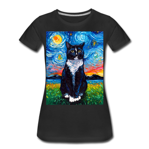 Tuxedo Cat Night Women's Premium T-Shirt - black