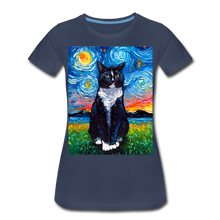 Load image into Gallery viewer, Tuxedo Cat Night Women's Premium T-Shirt - navy