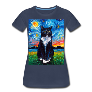 Tuxedo Cat Night Women's Premium T-Shirt - navy