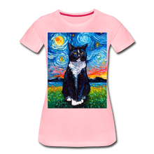 Load image into Gallery viewer, Tuxedo Cat Night Women's Premium T-Shirt - pink