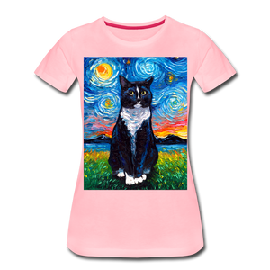 Tuxedo Cat Night Women's Premium T-Shirt - pink