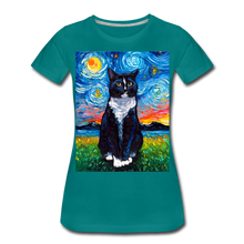 Load image into Gallery viewer, Tuxedo Cat Night Women's Premium T-Shirt - teal
