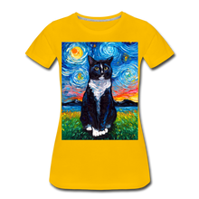 Load image into Gallery viewer, Tuxedo Cat Night Women's Premium T-Shirt - sun yellow