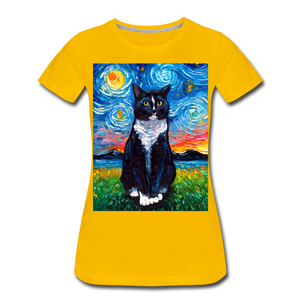 Tuxedo Cat Night Women's Premium T-Shirt - sun yellow