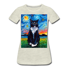 Load image into Gallery viewer, Tuxedo Cat Night Women's Premium T-Shirt - heather oatmeal