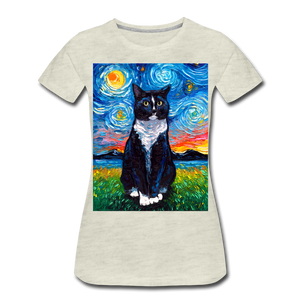 Tuxedo Cat Night Women's Premium T-Shirt - heather oatmeal