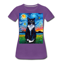 Load image into Gallery viewer, Tuxedo Cat Night Women's Premium T-Shirt - purple