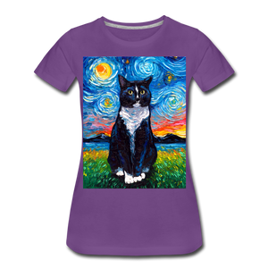Tuxedo Cat Night Women's Premium T-Shirt - purple