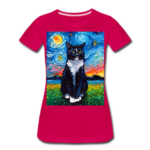 Load image into Gallery viewer, Tuxedo Cat Night Women's Premium T-Shirt - dark pink