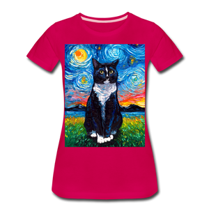 Tuxedo Cat Night Women's Premium T-Shirt - dark pink