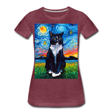 Load image into Gallery viewer, Tuxedo Cat Night Women's Premium T-Shirt - heather burgundy