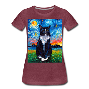 Tuxedo Cat Night Women's Premium T-Shirt - heather burgundy