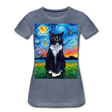 Load image into Gallery viewer, Tuxedo Cat Night Women's Premium T-Shirt - heather blue