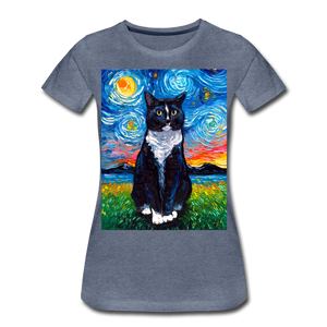 Tuxedo Cat Night Women's Premium T-Shirt - heather blue
