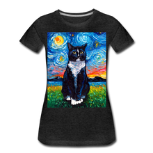 Load image into Gallery viewer, Tuxedo Cat Night Women's Premium T-Shirt - charcoal gray