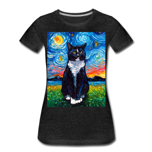 Tuxedo Cat Night Women's Premium T-Shirt - charcoal gray