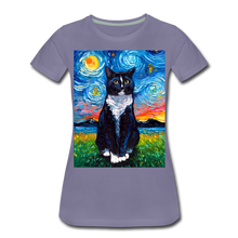 Load image into Gallery viewer, Tuxedo Cat Night Women's Premium T-Shirt - washed violet