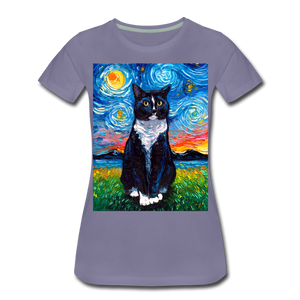 Tuxedo Cat Night Women's Premium T-Shirt - washed violet