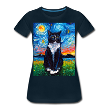 Load image into Gallery viewer, Tuxedo Cat Night Women's Premium T-Shirt - deep navy