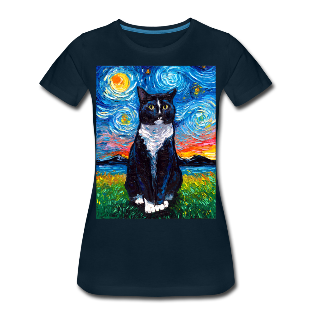 Tuxedo Cat Night Women's Premium T-Shirt - deep navy