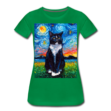 Load image into Gallery viewer, Tuxedo Cat Night Women's Premium T-Shirt - kelly green