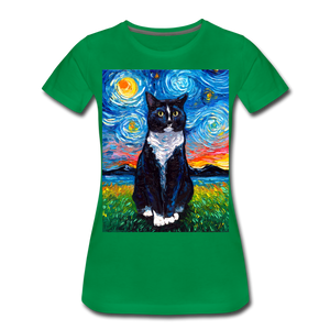 Tuxedo Cat Night Women's Premium T-Shirt - kelly green