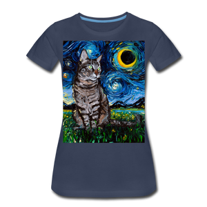 Tabby Night Women's Premium T-Shirt - navy