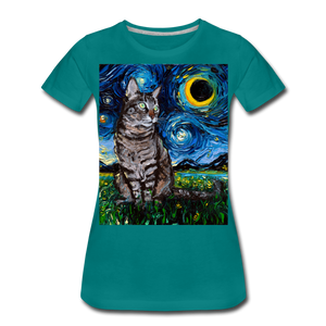 Tabby Night Women's Premium T-Shirt - teal