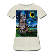 Load image into Gallery viewer, Tabby Night Women's Premium T-Shirt - heather oatmeal