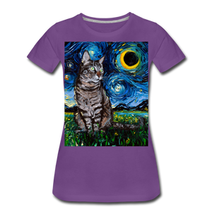 Tabby Night Women's Premium T-Shirt - purple