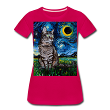 Load image into Gallery viewer, Tabby Night Women's Premium T-Shirt - dark pink