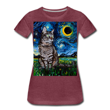 Load image into Gallery viewer, Tabby Night Women's Premium T-Shirt - heather burgundy