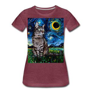Tabby Night Women's Premium T-Shirt - heather burgundy