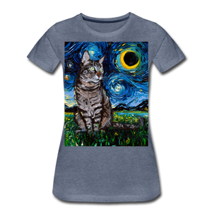 Tabby Night Women's Premium T-Shirt - heather blue