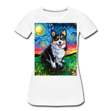 Load image into Gallery viewer, Tri-Color Corgi Night Women's Premium T-Shirt - white