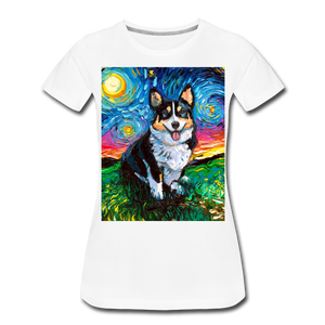Tri-Color Corgi Night Women's Premium T-Shirt - white