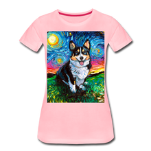 Load image into Gallery viewer, Tri-Color Corgi Night Women's Premium T-Shirt - pink