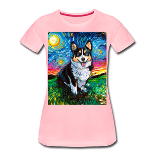Tri-Color Corgi Night Women's Premium T-Shirt - pink