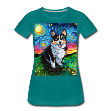 Load image into Gallery viewer, Tri-Color Corgi Night Women's Premium T-Shirt - teal