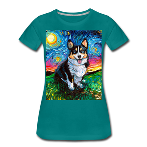 Tri-Color Corgi Night Women's Premium T-Shirt - teal