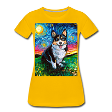 Load image into Gallery viewer, Tri-Color Corgi Night Women's Premium T-Shirt - sun yellow