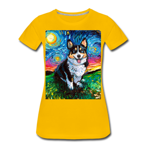 Tri-Color Corgi Night Women's Premium T-Shirt - sun yellow